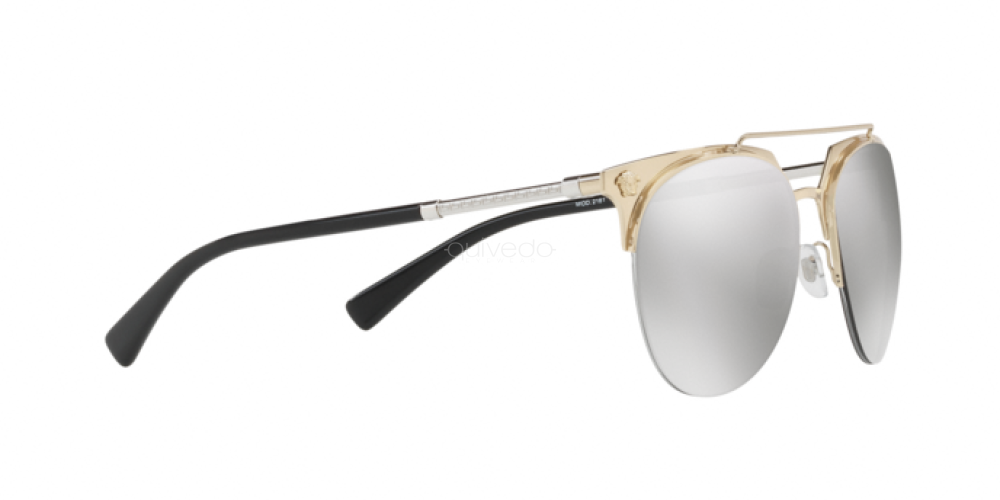 Grey Mirror Silver Lens Authentic Versace VE2181-12526G 57mm Sunglasses Gold